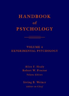 Handbook of Psychology, Volume 4